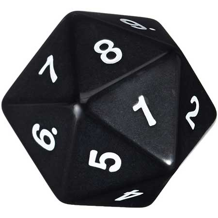 55mm Countdown d20, Black