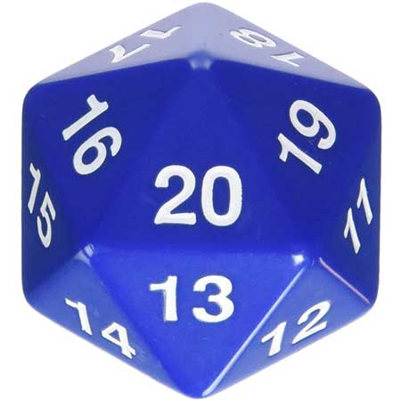 55mm Countdown d20, Blue