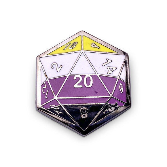 d20 Non-Binary Pride Pin