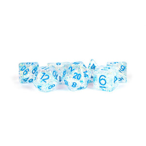 Flash Dice: Clear with Light Blue Numbers
