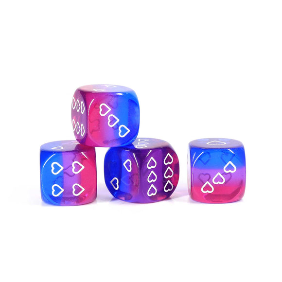 HeartBeatDice d6: Bisexual Pride, Translucent (6)