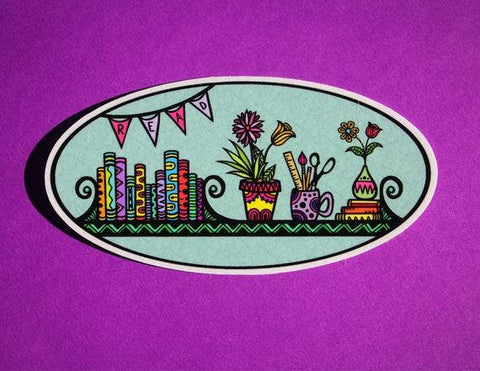 Read Books with Flowers Sticker