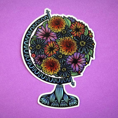 Blooming Flowers Globe Sticker