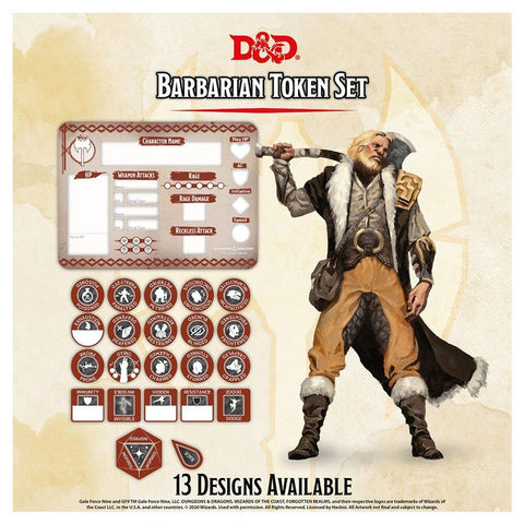 D&D Barbarian Character Token Set
