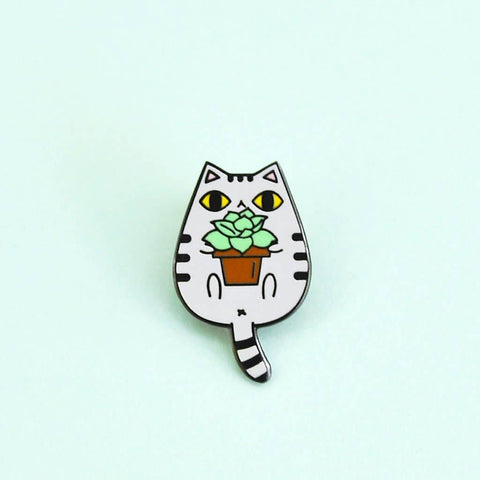 Gray Tabby Cat with Succulent Enamel Pin
