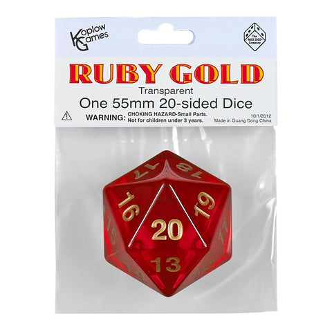 55mm Countdown d20, Ruby Gold