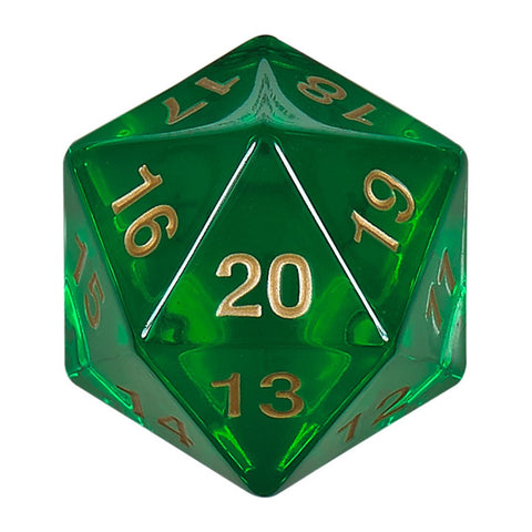 55mm Countdown d20, Emerald Gold