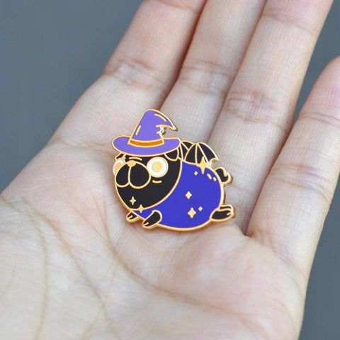 Witchy Pug Enamel Pin