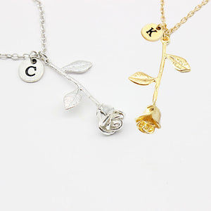 A-M Letter Custom Rose Necklace