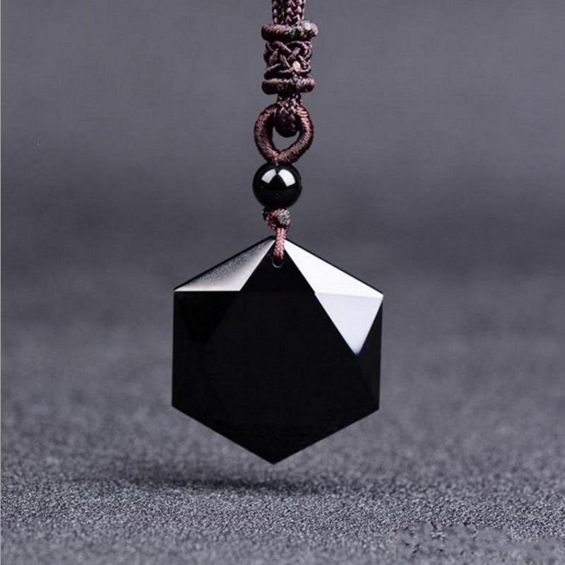Black Obsidian Star of David necklace