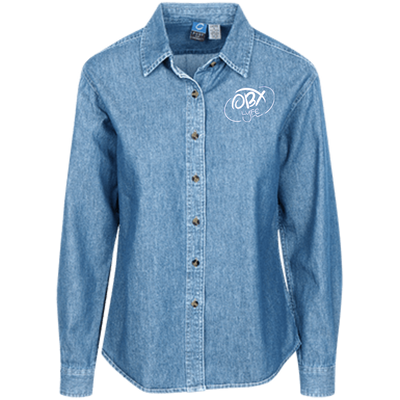 Cloud White OBX Lyfe Port Authority Women's LS Denim Shirt