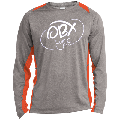 Cloud White OBX Lyfe Long Sleeve Heather Colorblock Poly T-Shirt in Multiple Colors
