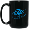 Sky Blue OBX Lyfe 15 oz. Black Mug