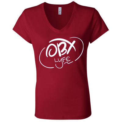 Cloud White OBX Lyfe Bella + Canvas Ladies' Jersey V-Neck T-Shirt in 6 Colors