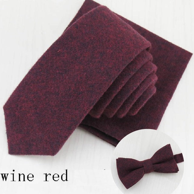 Tie, Pocket Square, and Bow Tie - 3 Pcs. Cotton Matching Set