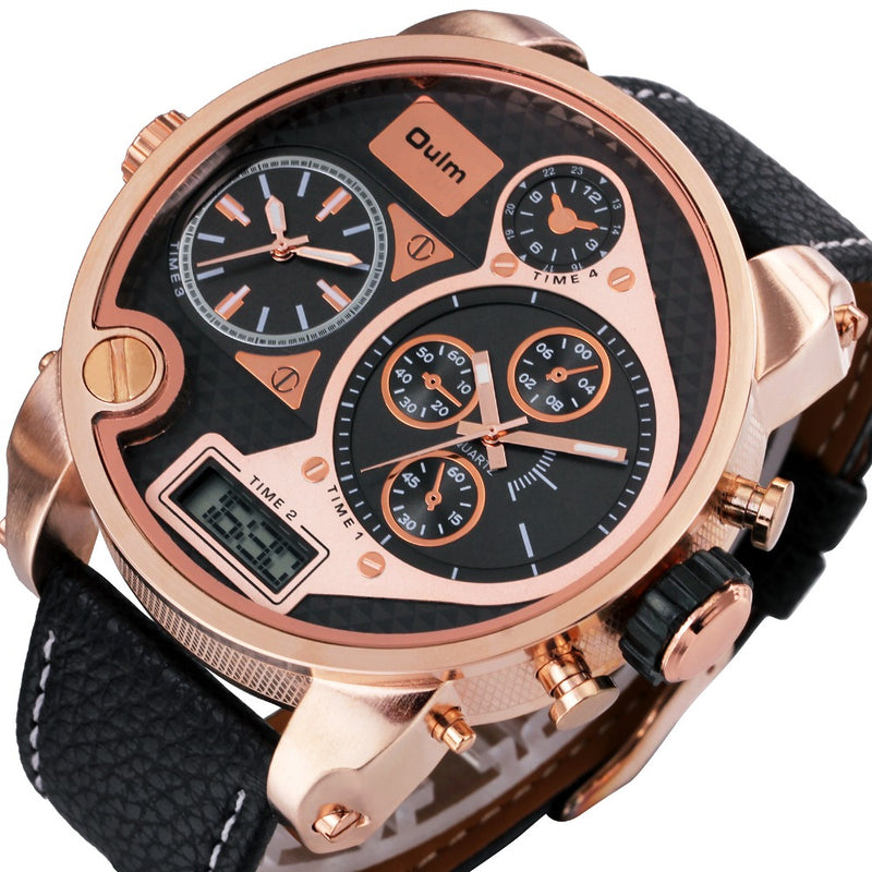 Rose Gold Leather Timepiece