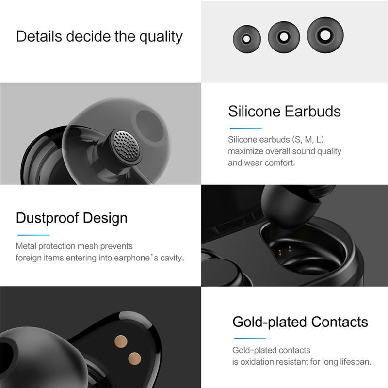 e2a7f9bc7c2 Bluetooth Touch Control Hifi Earphone with Mic, ROCKSPACE EB30 TWS Wireless  Earbuds Stereo Microphone for