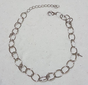 925 Sterling Silver 5 pin Bracelet with 5 Oyster Openings