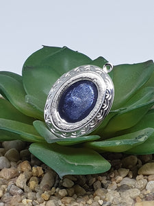 Cabochon Locket Pendant with your choice of cabochon - Silver plated with chain
