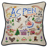 Ski Hand-Embroidered Pillow