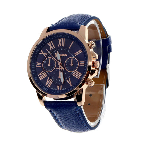 Geneva Faux Leather Watch