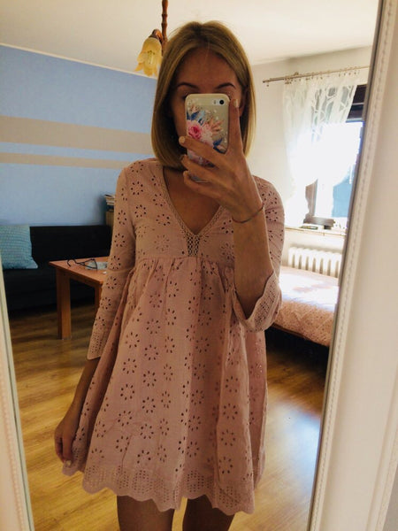 'Emma' Blushing Eyelet Dress