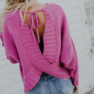 'Camille' Tie Back Sweater