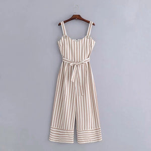 'Libby' Striped Tie Waist Jumpsuit