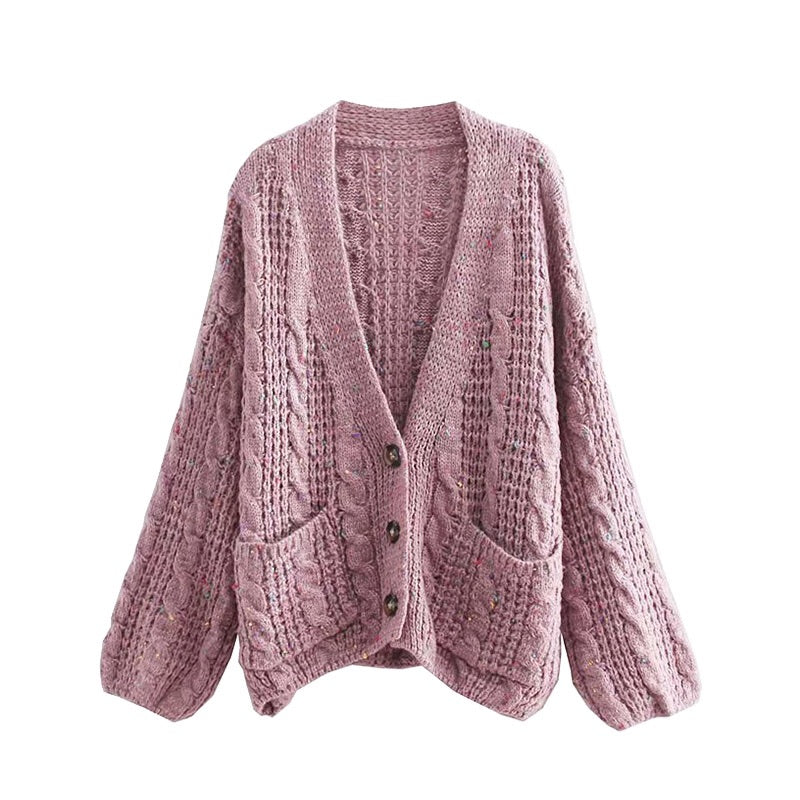 'Olivia' Button Down Cable Knit Sweater