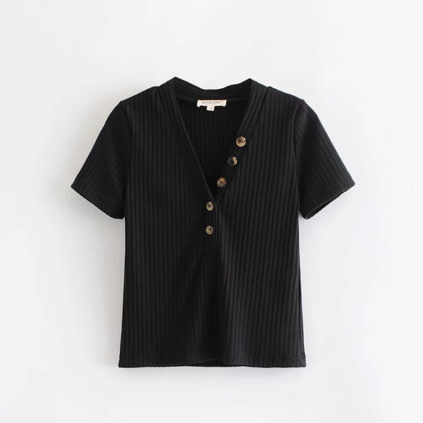 'Chelsey' Half Button Tee