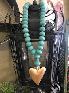 MANGO WOOD BEAD STRAND W/ HEART