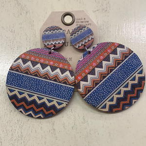 CRYS AVE/BLUE AZTEC EARRING