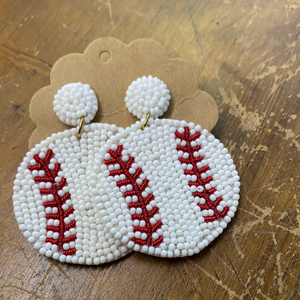 BEADED BASEBALL EARRINGS