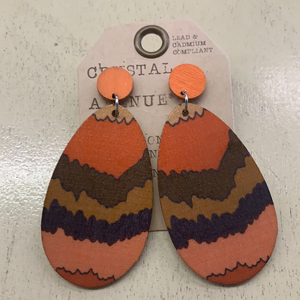 CRYS AVE/ORANGE STRIPE EARRING