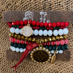 LV BRACELET SETS/GREEN/RED/WHITE