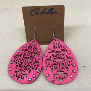 WOOD PINK W/STONE EARRINGS