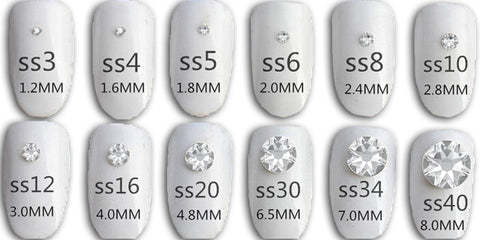 Swarovski Crystals for nails size chart