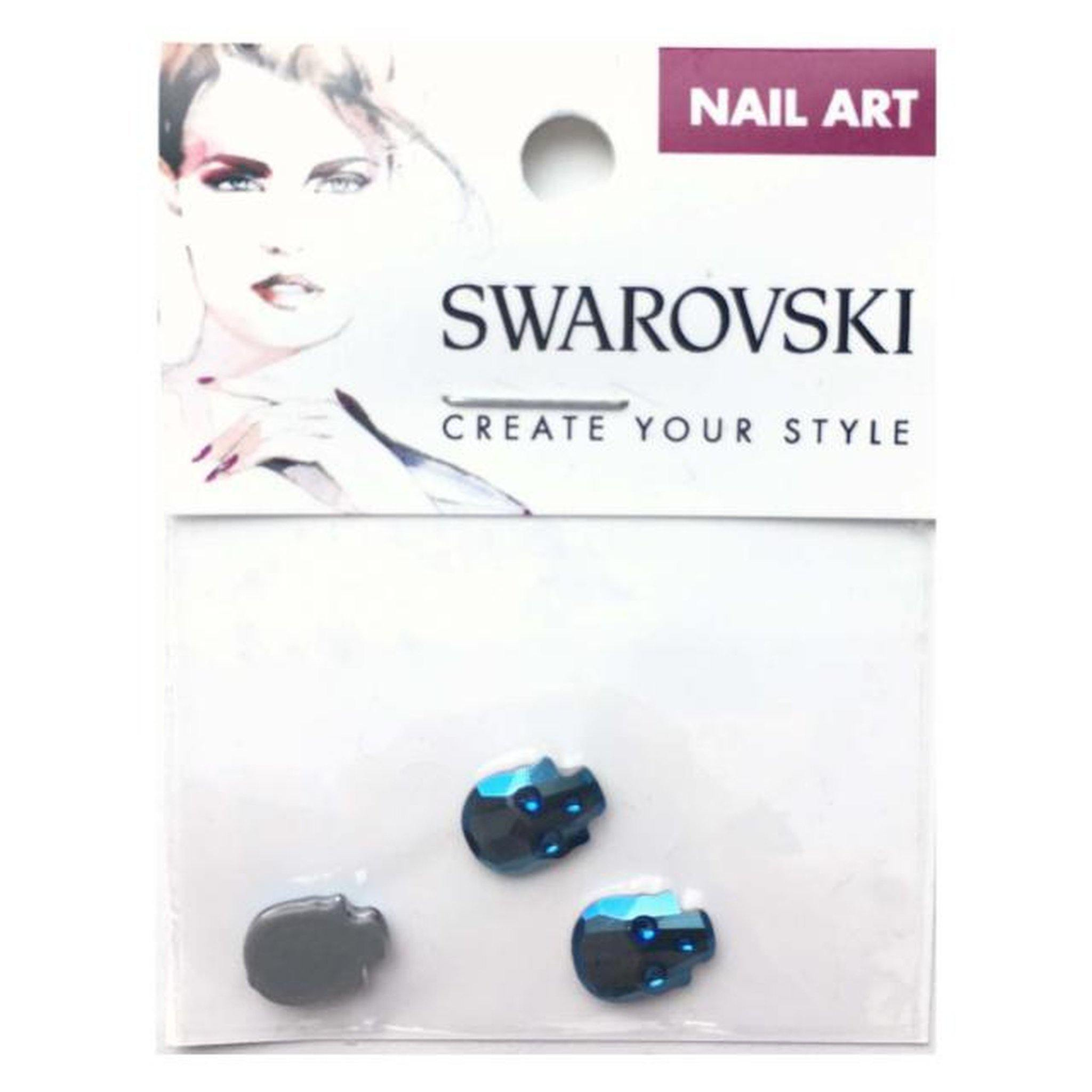 10x7.5mm Swarovski Skull Flat Back - Metallic Blue-Gel Essentialz