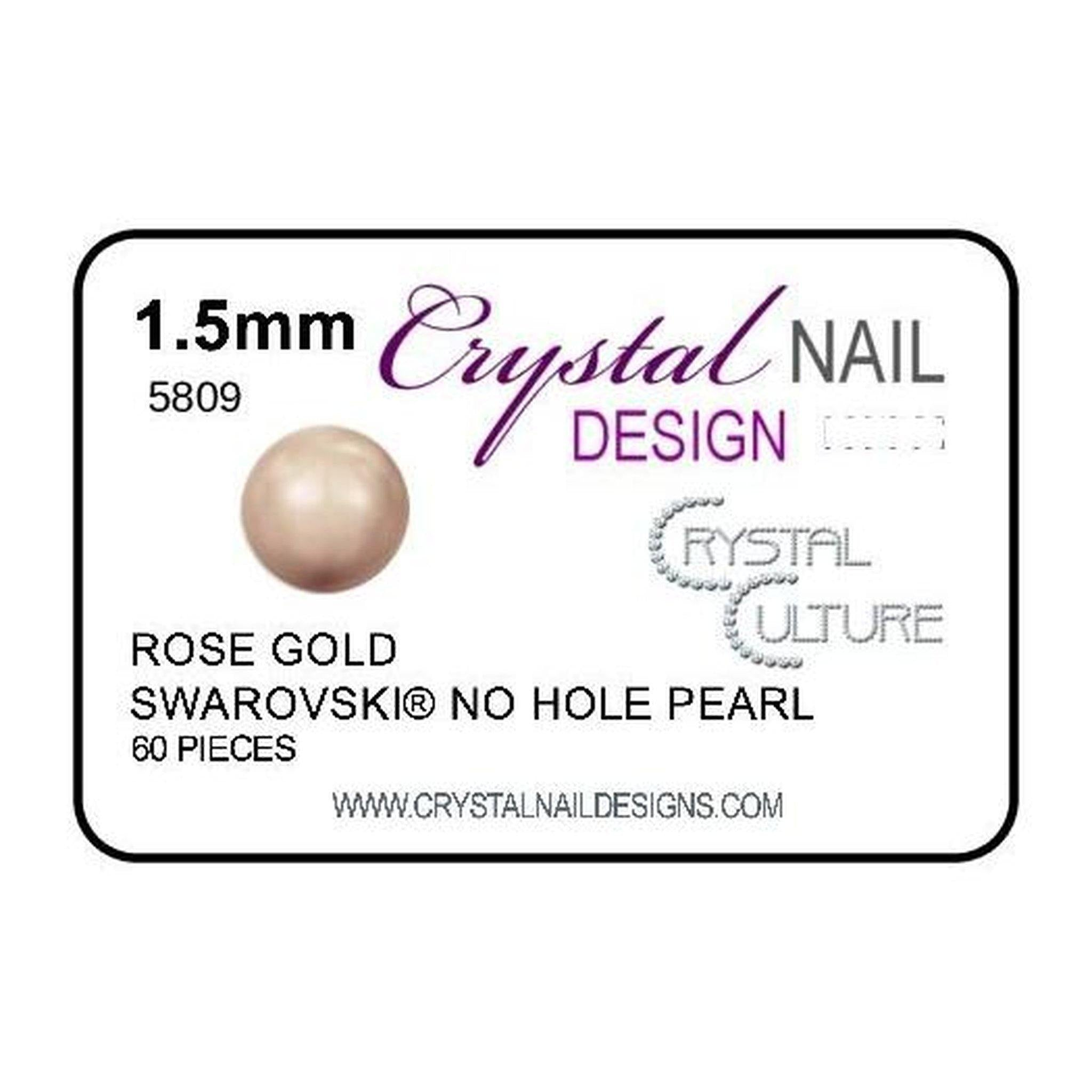 1.5mm Swarovski No Hole Pearl - Rose Gold-Gel Essentialz