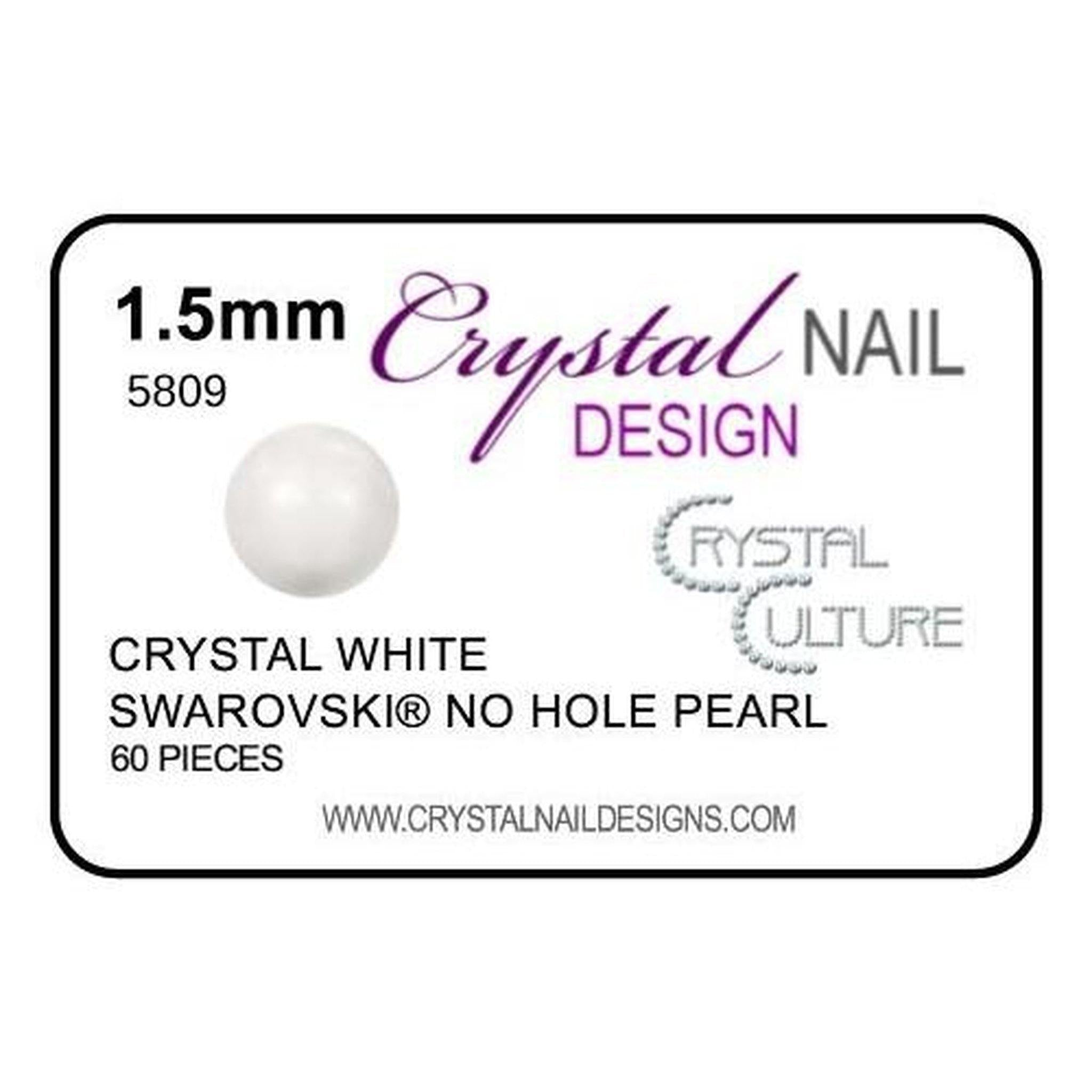 1.5mm Swarovski No Hole Pearl - White-Gel Essentialz