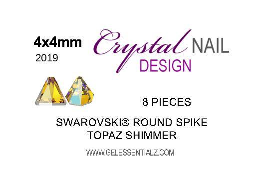 Swarovski Round Spike Flat Back - Light Topaz Shimmer