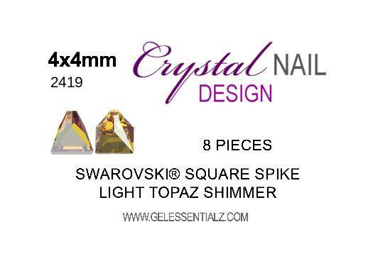 Swarovski Square Spike Flat Back - Crystal Light Topaz Shimmer