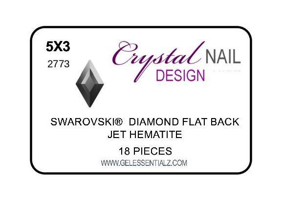 DIAMOND FLAT BACK - JET HEMATITE-Gel Essentialz