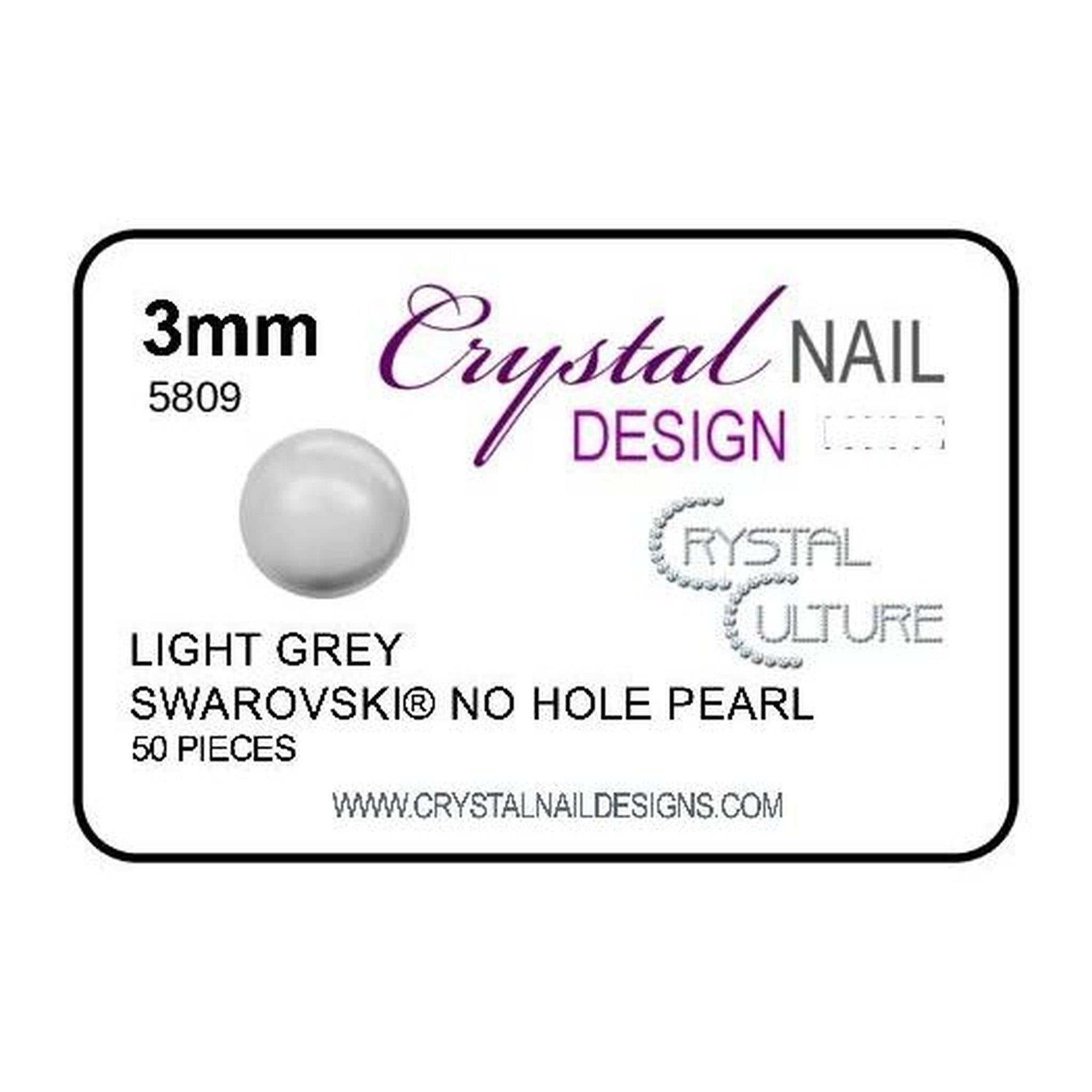 3mm Swarovski No Hole Pearl - Light Grey-Gel Essentialz