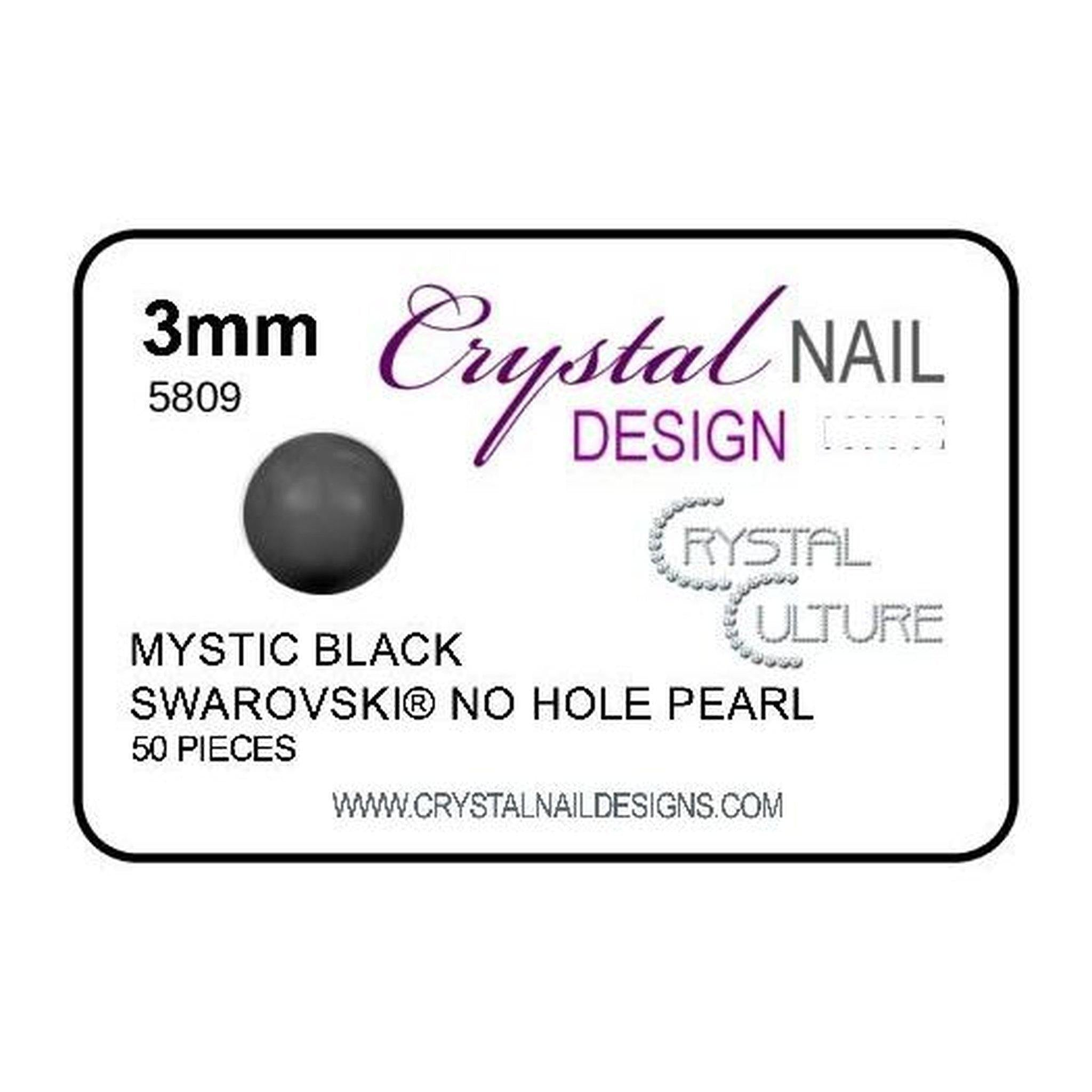 3mm Swarovski No Hole Pearl - Mystic Black-Gel Essentialz