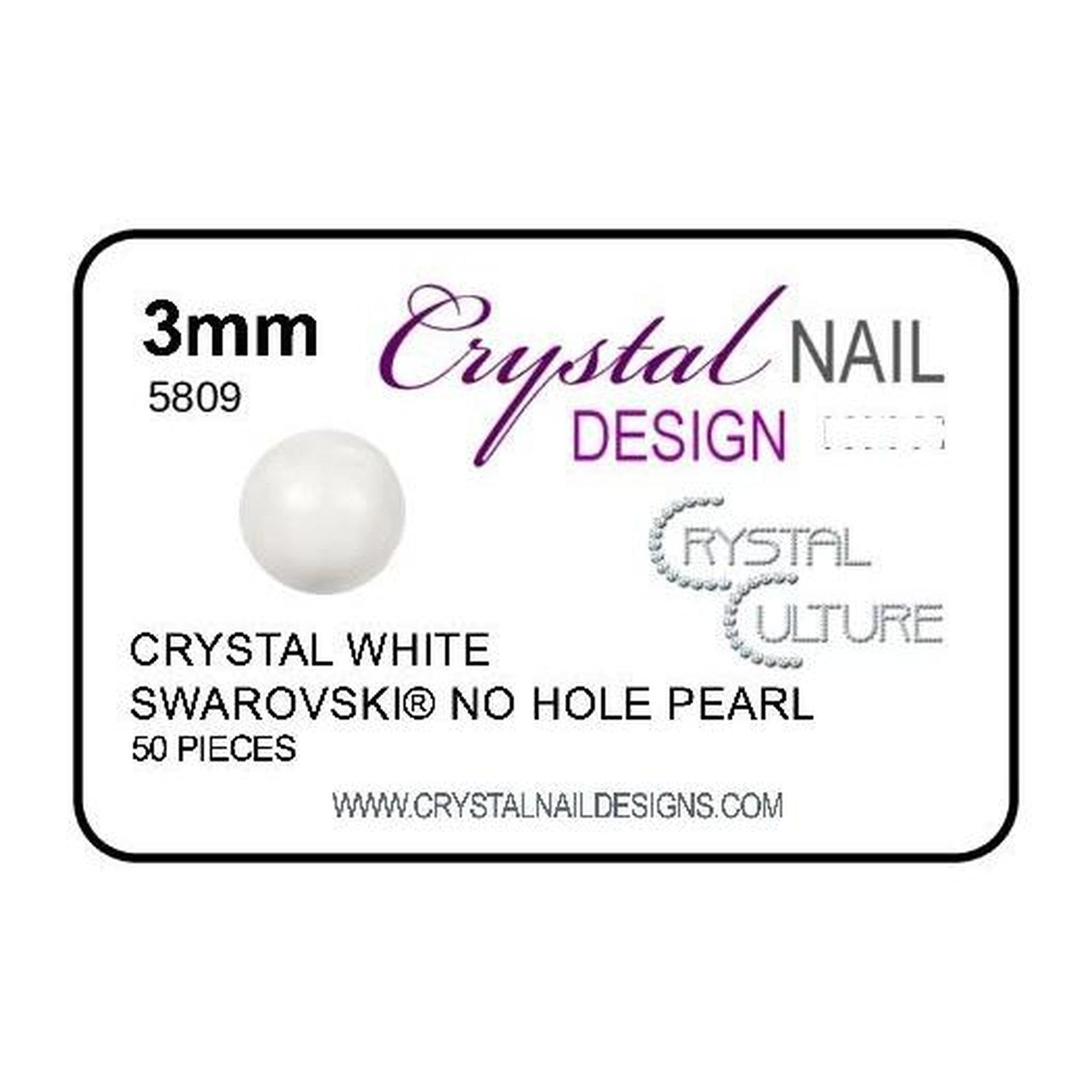3mm Swarovski No Hole Pearl - White-Gel Essentialz