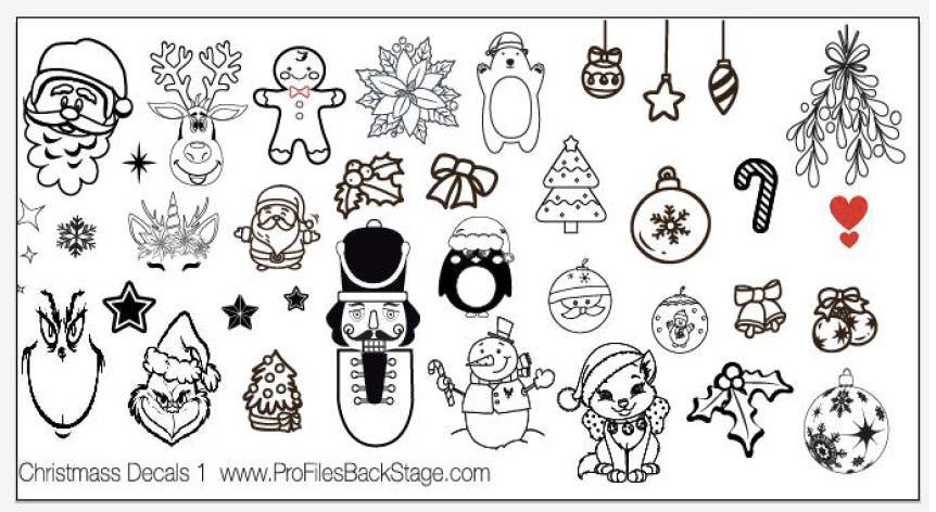 PF Stamping Plate Christmas Decals 1