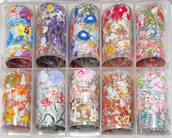 10Pc. Dried Flowers Transfer Foil Set