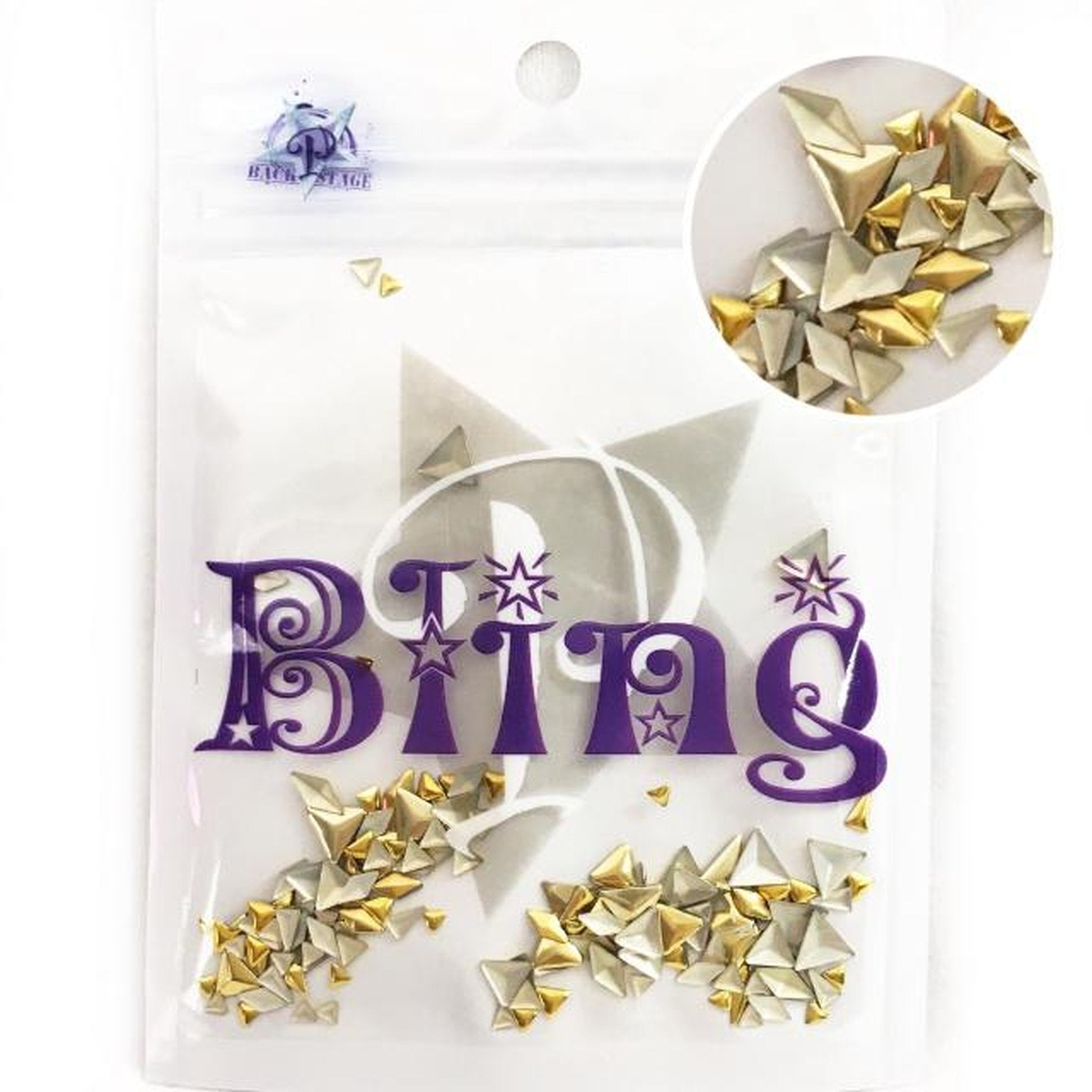 Profiles Bling - Gold Trangles, Arrows, Diamond shapes-Gel Essentialz