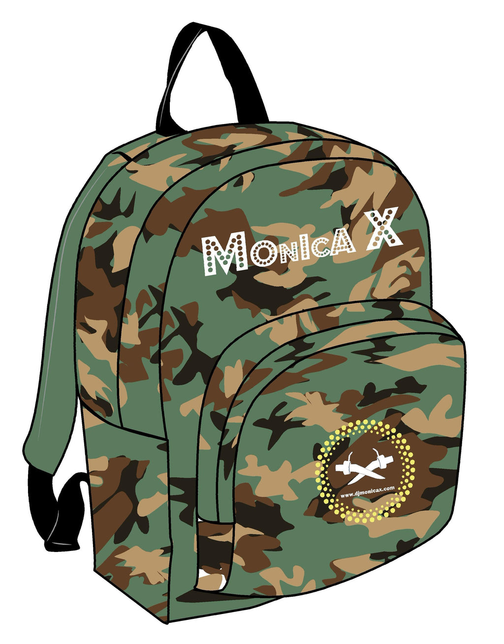 Mochila de Camuflaje - Logo Mónica X Bordado - Camouflage Backpack - Monica X Embroidered Logo
